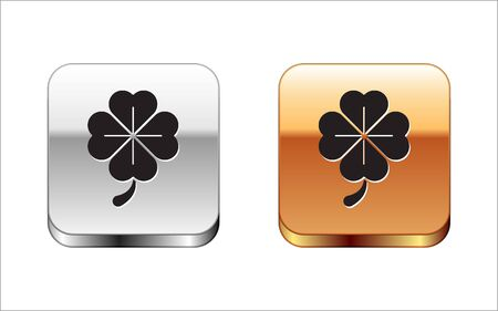 Black Four leaf clover icon isolated on white background. Happy Saint Patrick day. Silver-gold square button. Vector Illustration Stock Vector - 134962781