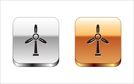 Black Wind turbine icon isolated on white background. Wind generator sign. Windmill for electric power production. Silver-gold square button. Vector Illustration