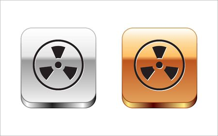 Black Radioactive icon isolated on white background. Radioactive toxic symbol. Radiation Hazard sign. Silver-gold square button. Vector Illustration
