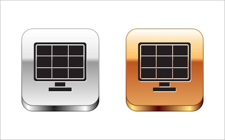 Black Solar energy panel icon isolated on white background. Silver-gold square button. Vector Illustration