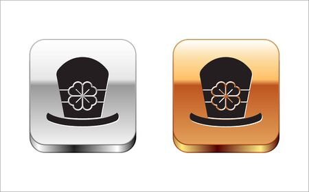 Black Leprechaun hat and four leaf clover icon isolated on white background. Happy Saint Patricks day. Silver-gold square button. Vector Illustration