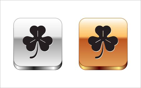 Black Four leaf clover icon isolated on white background. Happy Saint Patrick day. Silver-gold square button. Vector Illustration