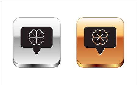 Black Four leaf clover in speech bubble icon isolated on white background. Happy Saint Patrick day. Silver-gold square button. Vector Illustration