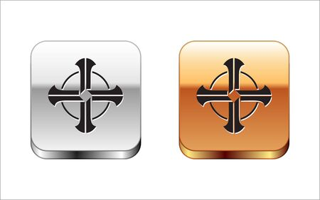 Black Celtic cross icon isolated on white background. Happy Saint Patricks day. Silver-gold square button. Vector Illustration Ilustracja