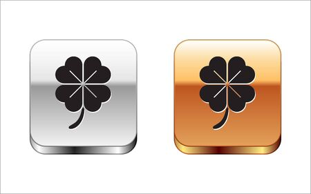 Black Four leaf clover icon isolated on white background. Happy Saint Patrick day. Silver-gold square button. Vector Illustration Stock Vector - 134964612
