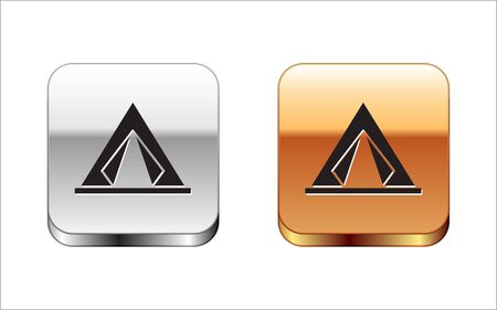 Black Tourist tent icon isolated on white background. Camping symbol. Silver-gold square button. Vector Illustration  イラスト・ベクター素材