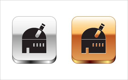 Black Astronomical observatory icon isolated on white background. Observatory with a telescope. Scientific institution. Silver-gold square button. Vector Illustration