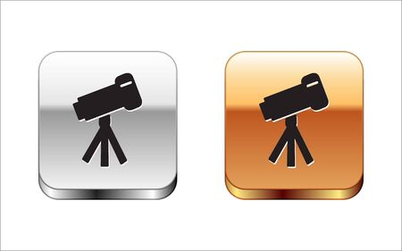 Black Telescope icon isolated on white background. Scientific tool. Education and astronomy element, spyglass and study stars. Silver-gold square button. Vector Illustration