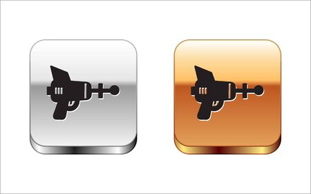 Black Ray gun icon isolated on white background. Laser weapon. Space blaster. Silver-gold square button. Vector Illustration