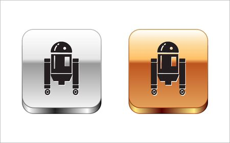 Black Robot icon isolated on white background. Silver-gold square button. Vector Illustration Stock Vector - 134965016