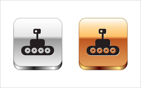 Black Mars vehicle icon isolated on white background. Space vehicle. Moonwalker sign. Apparatus for studying planets surface. Silver-gold square button. Vector Illustration