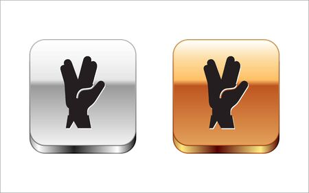 Black Vulcan salute icon isolated on white background. Hand with vulcan greet. Spock symbol. Silver-gold square button. Vector Illustration Archivio Fotografico - 134954300