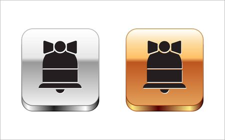 Black Merry Christmas ringing bell icon isolated on white background. Alarm symbol, service bell, handbell sign, notification symbol. Silver-gold square button. Vector Illustration