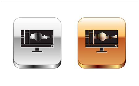 Black Sound or audio recorder or editor software on computer monitor icon isolated on white background. Silver-gold square button. Vector Illustration