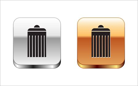 Black Trash can icon isolated on white background. Garbage bin sign. Recycle basket icon. Office trash icon. Silver-gold square button. Vector Illustration