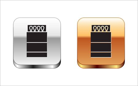 Black Open matchbox and matches icon isolated on white background. Silver-gold square button. Vector Illustration Illustration