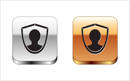 Black User protection icon isolated on white background. Secure user login, password protected, personal data protection, authentication. Silver-gold square button. Vector Illustration