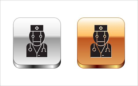 Black Robot doctor icon isolated on white background. Medical online consultation robotic silhouette artificial intelligence. Silver-gold square button. Vector Illustration Illustration