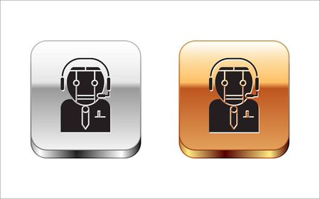 Black Worker robot icon isolated on white background. Silver-gold square button. Vector Illustration Stock Vector - 134963395