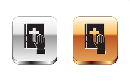 Black Oath on the Holy Bible icon isolated on white background. The procedure in court. Truth and truth. Promise before god. Silver-gold square button. Vector Illustration
