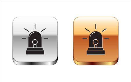 Black Flasher siren icon isolated on white background. Emergency flashing siren. Silver-gold square button. Vector Illustration