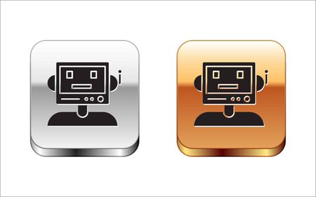 Black Robot icon isolated on white background. Silver-gold square button. Vector Illustration Stock Vector - 134963492