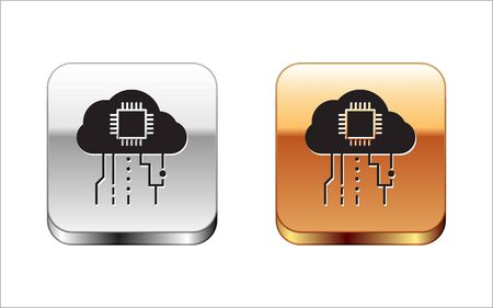 Black Internet of things icon isolated on white background. Cloud computing design concept. Digital network connection. Silver-gold square button. Vector Illustration