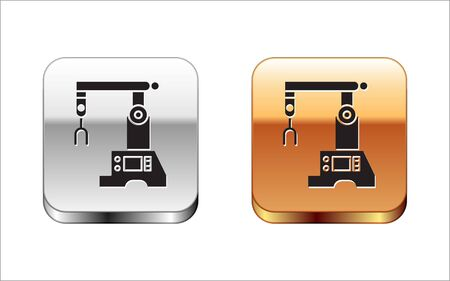 Black Assembly line icon isolated on white background. Automatic production conveyor. Robotic industry concept. Silver-gold square button. Vector Illustration