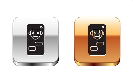 Black Bot icon isolated on white background. Robot icon. Silver-gold square button. Vector Illustration Stock Vector - 134963547