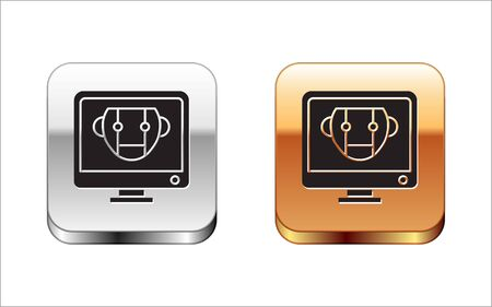 Black Bot icon isolated on white background. Computer monitor and robot icon. Silver-gold square button. Vector Illustration Stock Vector - 134963552