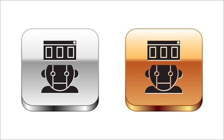 Black Robot icon isolated on white background. Silver-gold square button. Vector Illustration Stock Vector - 134963666