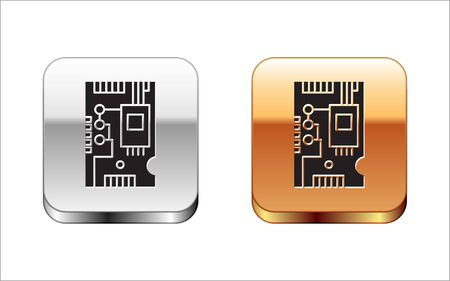 Black Electronic computer components motherboard digital chip integrated science icon isolated on white background. Circuit board. Silver-gold square button. Vector Illustration 일러스트