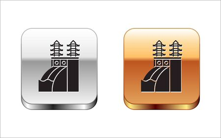 Black Nuclear power plant icon isolated on white background. Energy industrial concept. Silver-gold square button. Vector Illustration
