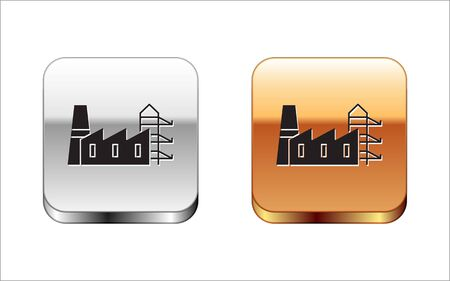 Black Power station plant and factory icon isolated on white background. Energy industrial concept. Silver-gold square button. Vector Illustration