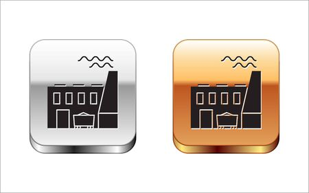Black Coal power plant and factory icon isolated on white background. Energy industrial concept. Coal power station. Silver-gold square button. Vector Illustration