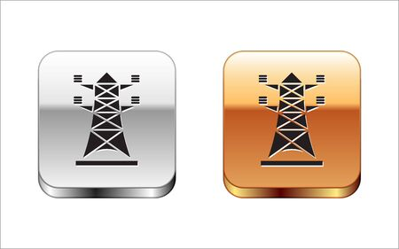 Black Electric tower used to support an overhead power line icon isolated on white background. High voltage power pole line. Silver-gold square button. Vector Illustration 向量圖像