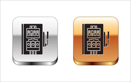 Black Electrical panel icon isolated on white background. Silver-gold square button. Vector Illustration