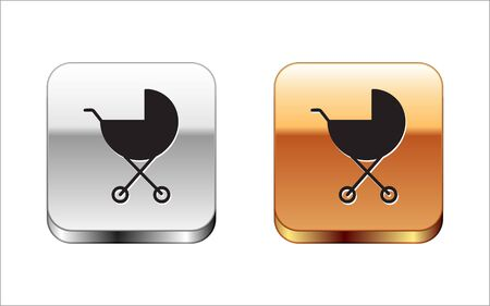 Black Baby stroller icon isolated on white background. Baby carriage, buggy, pram, stroller, wheel. Silver-gold square button. Vector Illustration Illusztráció