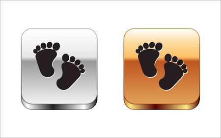 Black Baby footprints icon isolated on white background. Baby feet sign. Silver-gold square button. Vector Illustration