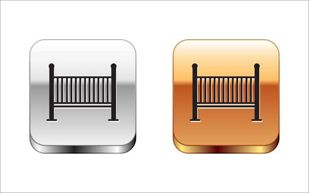 Black Baby crib cradle bed icon isolated on white background. Silver-gold square button. Vector Illustration Ilustracja