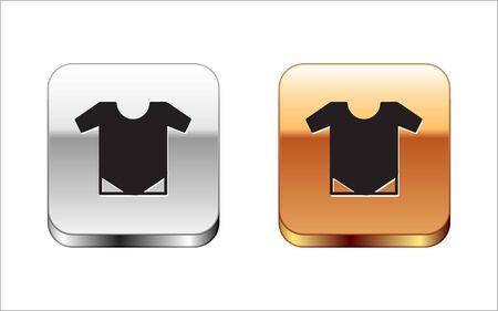 Black Babywear icon isolated on white background. Baby clothes symbol. Kid wear sign. Silver-gold square button. Vector Illustration Illusztráció