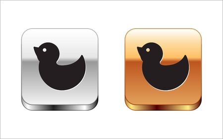 Black Rubber duck icon isolated on white background. Silver-gold square button. Vector Illustration