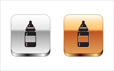 Black Baby bottle icon isolated on white background. Feeding bottle icon. Milk bottle sign. Silver-gold square button. Vector Illustration