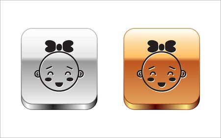Black Happy little girl head icon isolated on white background. Face of baby girl. Silver-gold square button. Vector Illustration