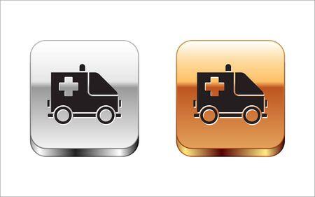 Black Ambulance and emergency car icon isolated on white background. Ambulance vehicle medical evacuation. Silver-gold square button. Vector Illustration Illustration