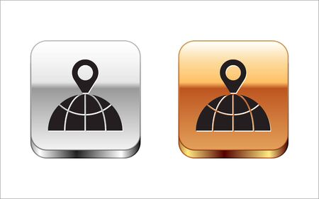 Black Location on the globe icon isolated on white background. World or Earth sign. Silver-gold square button. Vector Illustration 向量圖像