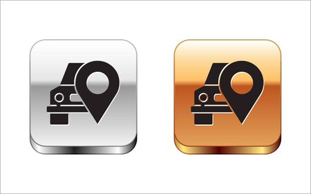 Black Map pointer with taxi icon isolated on white background. Location symbol. Silver-gold square button. Vector Illustration