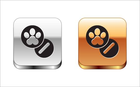 Black Dog and pills icon isolated on white background. Prescription medicine for animal. Silver-gold square button. Vector Illustration Illustration