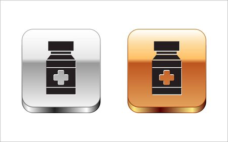 Black Dog medicine bottle and pills icon isolated on white background. Container with pills. Prescription medicine for animal. Silver-gold square button. Vector Illustration