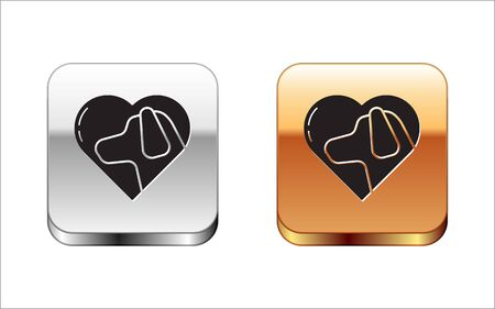 Black Heart with dog icon isolated on white background. Pet paw in heart. Love to the animals. Silver-gold square button. Vector Illustration